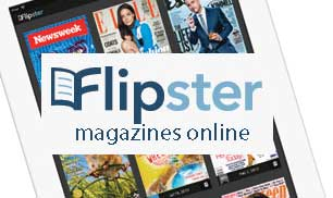 Flipster digital magazine stand linking to the Mt Laurel Library page about this service.